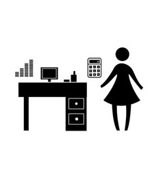 Account girl sign vector