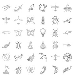 airship icons set outline style vector image