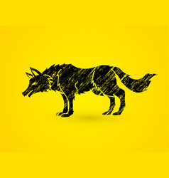 Angry wolf standing vector