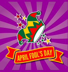 april fools day card with jester hat vector image