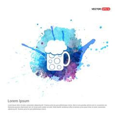 Beer mug icon - watercolor background vector