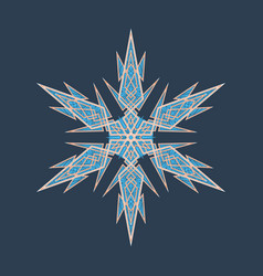 Big crystal snowflake in flat style on vector