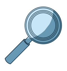 Blue shading silhouette of magnifying glass in vector