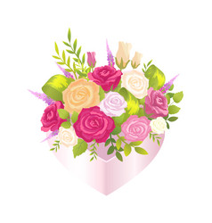 bright poster with elegant bunch with flowers vector image