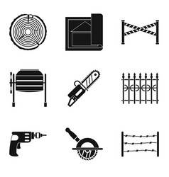 building material icons set simple style vector image