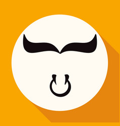 bull icon on white circle with a long shadow vector image