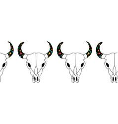 bull skull seamless pattern cow skull vector image