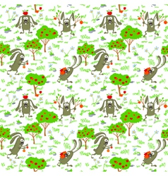 Bunnies and apples vector