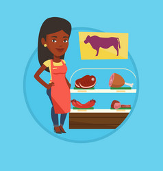butcher offering fresh meat in butchershop vector image