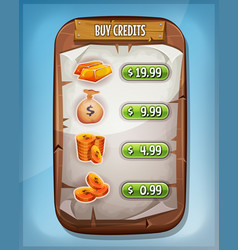 buying credits interface for ui game vector image
