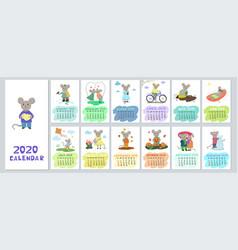Calendar 2020 with cute cartoon mice graphics vector