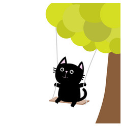Cat ride on the swing green tree cute fat vector