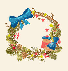 Christmas background with beautiful wreath bird vector