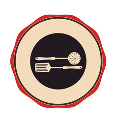 circular emblem with frying spoon set vector image