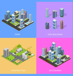 city landscape construction building poster card vector image