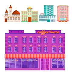 City public buildings houses flat design office vector