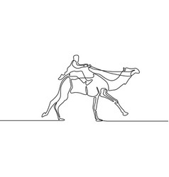 continuous line drawing running rider camel vector image