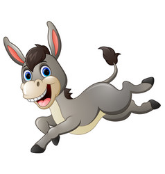cute donkey cartoon running vector image