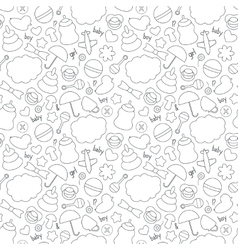 Cute hand drawn baby seamless pattern Background vector