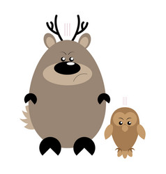 deer and owl angry vector image