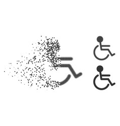Dispersed pixelated halftone handicapped icon vector