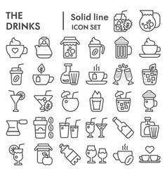 drinks line icon set beverage symbols collection vector image