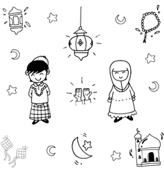 Eid Mubarak Doodle for kids vector