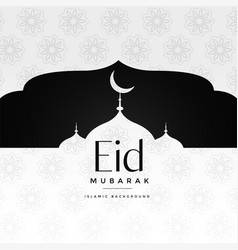 Eid mubarak islamic greeting with mosque vector