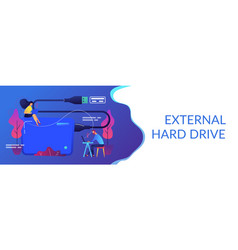 External hard drive concept banner header vector