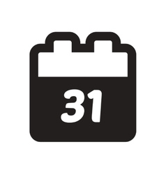 Flat icon in black and white calendar vector