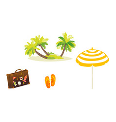 flat travelling beach vacation symbols icon vector image