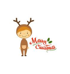 funny little boy dressed as deer smiling kid in vector image
