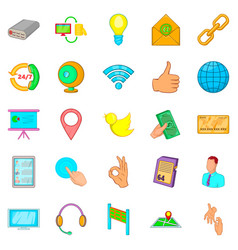 Global information icons set cartoon style vector
