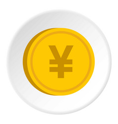 Gold coin with yen sign icon circle vector