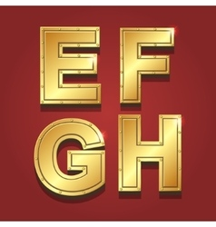 Gold letters alphabet font style E F G H vector