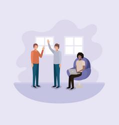 group of men using technology in the livingroom vector image