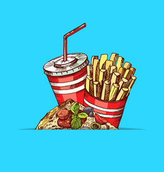 hand drawn colored fast food elements vector image