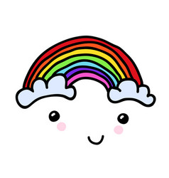 hand-painted smiling rainbow with clouds vector image