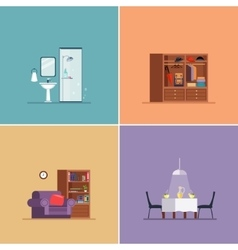 Interior Design Types Set vector