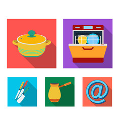 Kitchen equipment flat icons in set collection for vector