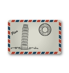 Letter from Pisa with the Leaning Tower painted vector