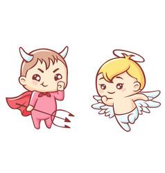 Little angel and demon cartoon kawaii cute angel vector