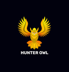 logo hunter owl gradient colorful style vector image