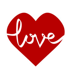 love lettering on red heart for design greeting vector image