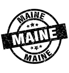 Maine black round grunge stamp vector