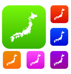 map of japan set collection vector image