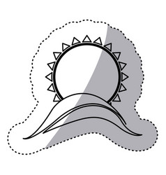 Monochrome contour sticker with abstract sun over vector