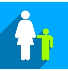 Mother With Son Flat Square Icon with Long Shadow vector image