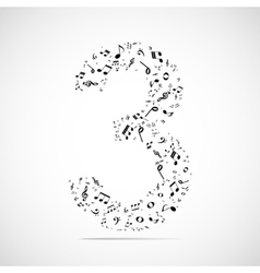 Number three made from music notes vector