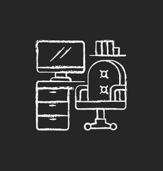 office furniture chalk white icon on black vector image